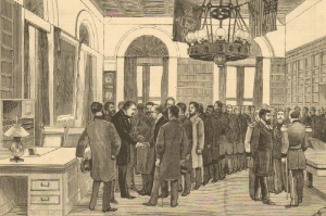 Newly elected Governor Grover Cleveland recieving friends in the Executive Chamber