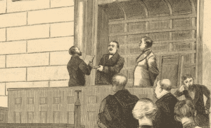 Newly elected Governor Grover Cleveland taking the oath of office