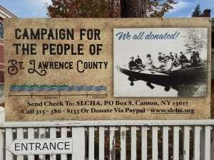 St. Lawrence County Historical Association campaign sign