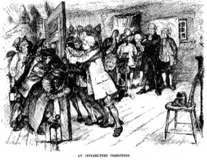 wood engraving of New York rioters trying to break their way into a doctors dissection area