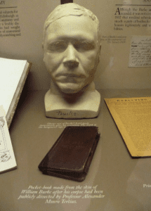 Burkes death mask and a pocket book bound in his skin