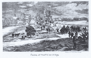 Lithograph of the Fenian charge, commanded by Colonel John O'Neill during the Battle of Ridgeway, near Niagara, Canada West, on June 2, 1866. In reality, the Fenians wore United States blue uniforms or Confederate uniforms, or parts of them along with civilian clothes with green arm or hat bands. Courtesy Library and Archives Canada