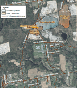 Map of Polluted Landfill Sites In Queensbury provided by DEC