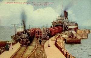 Loading trains on the ferry S.S. Chief Wawatam