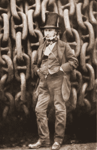 Brunel by the launching chains of SS Great Eastern