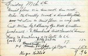 Entry from the log book of Game Protector Merritt Lamos for March 4, 1932