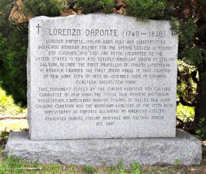 Lorenzo Da Pontes memorial in Calvary Cemetery