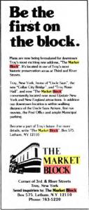 Market Block advertisement courtesy Troy Times Record