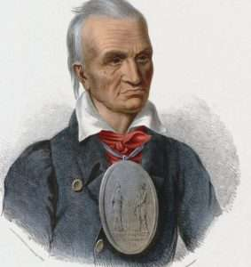 Red Jacket 1835 wearing the peace medal received from by George Washington