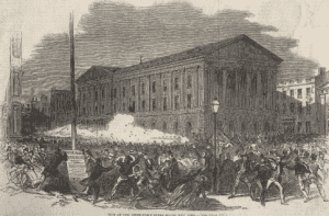 Wood engraving of the Astor Place riot