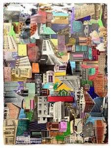 Around Town, 25.5 x 18.5 inches, collage, marker, metallic paint & plastic on paper