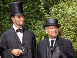 historians Fritz Klein and David Shakes portraying President Abraham Lincoln and Frederick Douglass