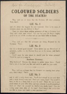 German propaganda targeting African-American troops in WWI