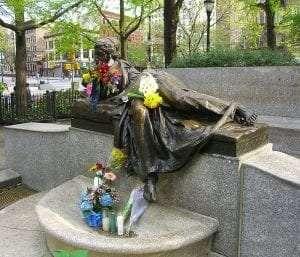 Isidor and Ida Straus Memorial at Straus Park courtesy Wikimedia user Luigi Novi