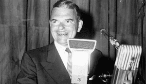 NYS Governor Thomas E Dewey at the opening of the NYS Thruway on June 25, 1954