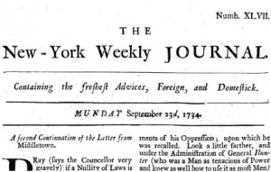 Page from John Peter Zengers New York Weekly Journal