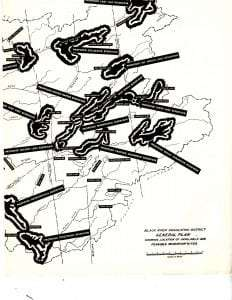 Black River Regulating District Plan c. 1945 of available and feasible reservoir sites.