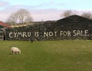 Anti-gentrification graffiti in rural Wales