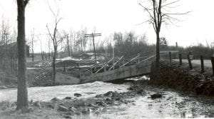 The bridge at Barberville on the Poestenkill knocked from it piers during the Great New England Hurricane of 1938 (Courtesy Poestenkill Historical Society).