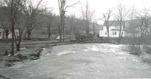 The Poesten Kill is about to flood its banks in Barberville at a spot that flooded twice in two years (1890 and 1891) damaging John Randall's shoe shop both times. Courtesy Poestenkill Historical Society.