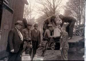 Sullivan County District Attorney William Deckelman (left) and Sheriff Harry Borden (standing at right)