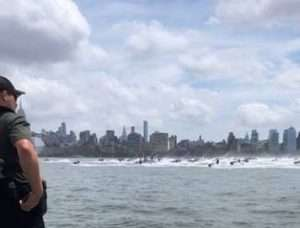 ECO Currey observing more than 400 jet skis approaching on the Hudson River in 2021 Jet Ski Invasion