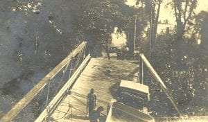 Remains of the destroyed bridge in Poestenkill Village, probably during the flood of 1922. This bridge was also damaged in the flooding of 1891 and 1938. Courtesy Poestenkill Historical Society.