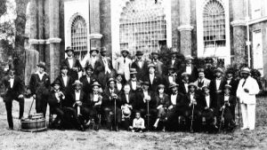 The only surviving photograph of the entire ensemble taken outside Brighton Dome in August 1921
