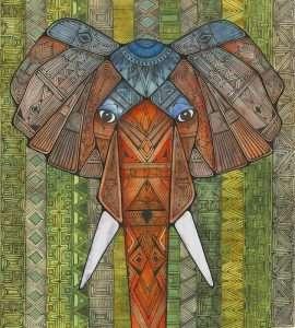 """""""Tribal Elephant"""" by Amy Cunningham-Waltz"""