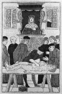 Woodcut of anatomical dissection