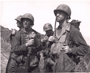 Soldiers of the New York National Guard's 105th Infantry Regiment on Saipan during World War II