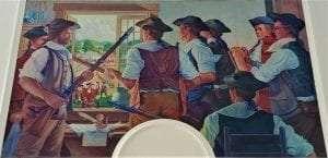 mural depicting Hampshire Grants settlers inside the James Breakenridge farmhouse