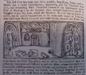 account and depiction of the Palatine refugees' sufferings in Germany from The State of the Palatines for fifty years past to this present time (London, 1710) courtesy the British Library