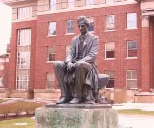James Fraser's sculpture of Abe Lincoln at the Maxwell School of Citizenship on the Syracuse University Campus