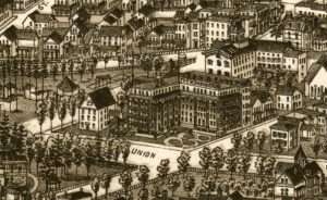 The Kensington Hotel on the north side of Union Avenue between Circular and Regent Streets. Lucien R. Burleigh 1888 bird's-eye-view map of Saratoga Springs.