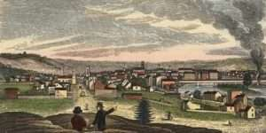 Northern View of Troy, NY from Mount Olympus from Historical Collections of the State of New York by Henry Howe and John W Barber (1841)