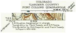 10. Heading and credits of the USGS Rocky Mountain Colorado-Ft. Collins Quadrangle