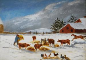 19th century winter farm scene folk art painting (unidentified creator)