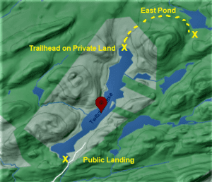6. Map of Twitchell Lake showing East Pond hike marked in yellow, Noel Sherry