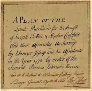 9. Title block of 1772 Map of Totten & Crossfield Purchase as surveyed by Ebenezer Jessup