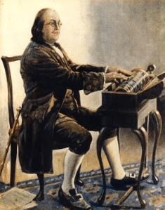 Benjamin Franklin and his glass armonica
