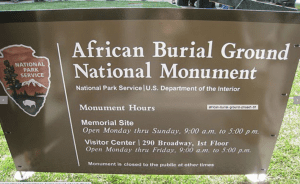 African Burial Ground plaque.