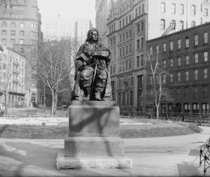 The statue of Abraham de Peyster was originally in Bowling Green.