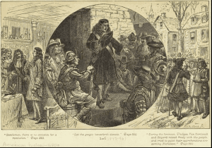 Engraving of colonial New York councilors Nicholas Bayard, Stephanus van Cortlandt, and Frederick Phillipse quieting fears during the 1689 Leisler's Rebellion in New York City.