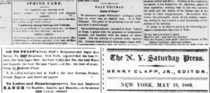 Henry Clapps support for Walt Whitman in the pages of the Saturday Press