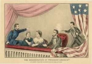 Henry Rathbone, with Clara Harris, attempting to stop John Wilkes Booth (Currier and Ives Print)