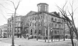Hudson Mohawk Humane Society took this building at the corner of Howard and Eagle St in 1901 previously the old jail and then Albany Hospital