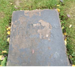 tombstone of Elias Desbrosses in Trinity Church yard.