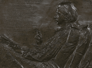 detail of the relief of Robert Louis Stevenson sculpted by Augustus Saint-Saint-Gaudens