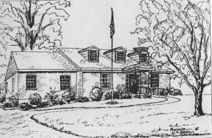 Drawing of original library building 1952